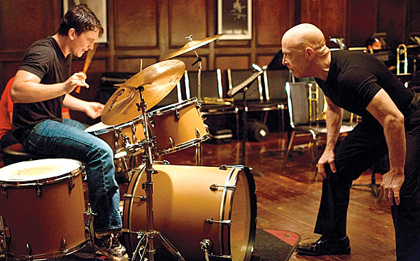 Whiplash (2014) Left to right: Miles Teller as Andrew and J.K. Simmons as Fletcher