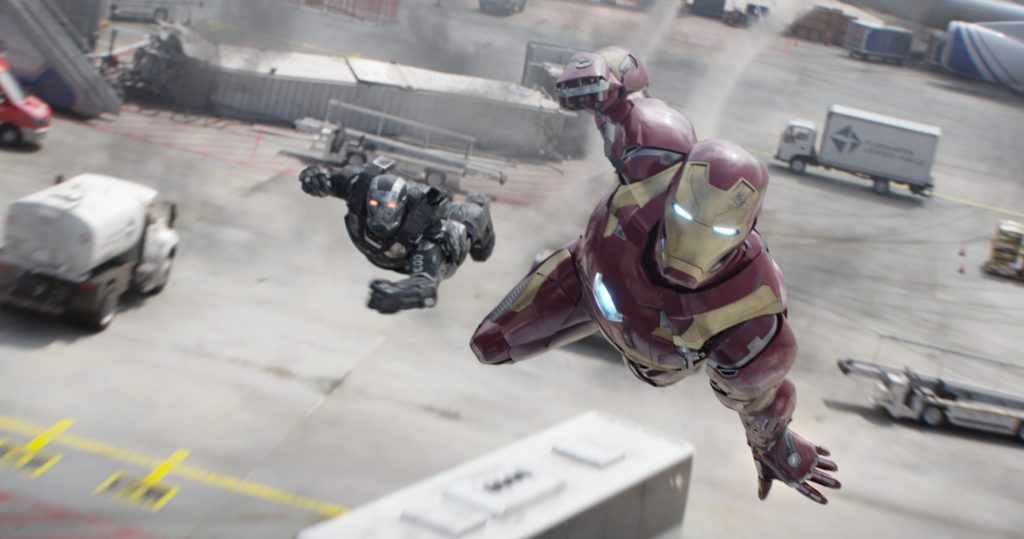 Marvel's Captain America: Civil War L to R: War Machine/James Rhodes (Don Cheadle) and Iron Man/Tony Stark (Robert Downey Jr.) Photo Credit: Film Frame © Marvel 2016